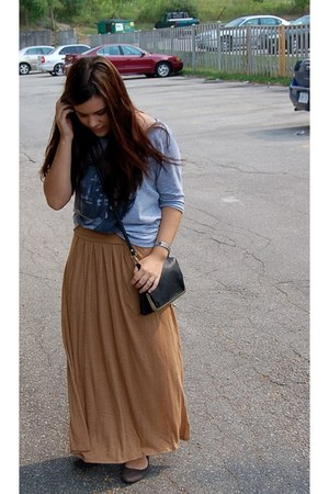 camel maxi Old Navy skirt - black Forever 21 purse - heather gray Forever 21 top