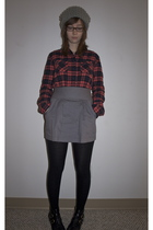 gray BDG hat - red BDG shirt - gray Hawks skirt - black Urban Outfitters tights