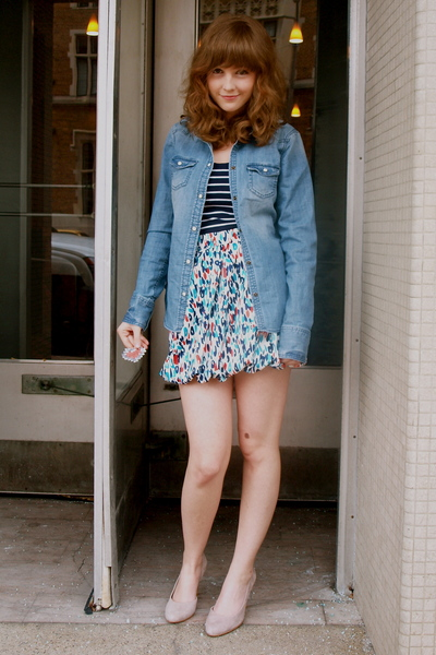 white Forever 21 skirt - blue Forever 21 top - blue American Eagle top - beige A
