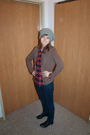 gray BDG hat - brown banana republic cardigan - red BDG shirt - blue delias jean