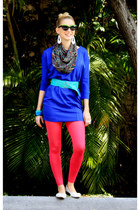 blue New York Company dress - hot pink Vero Moda leggings