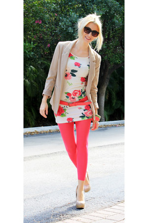 off white H&M dress - hot pink H&M leggings - tan H&M blazer