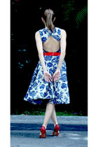 navy Abathie Design dress - red H&M belt - red Nine West pumps