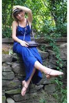 blue Robin K dress - brown Forever 21 shoes - brown thrifted - beige Forever 21