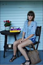 blue Forever 21 blouse - blue Forever 21 shorts - black Forever 21 shoes - beige