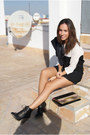 Black-stradivarius-boots-black-bicolor-stradivarius-dress