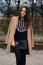 camel Mango coat - black leather Zara bag - black Zara sweatshirt