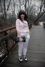 Light-pink-forever-21-sweater-white-kimchi-blue-pants-black-salvatore-ferrag