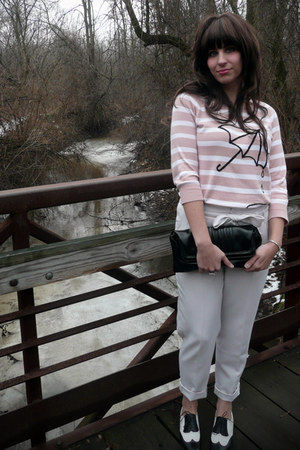 light pink Forever 21 sweater - white Kimchi Blue pants - black Salvatore Ferrag