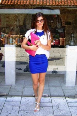 blue short skirt DIY skirt - white vintage shirt - hot pink Local store bag