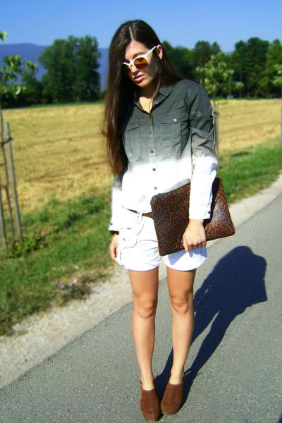 dark green ombre jennyfer shirt - dark brown leopard print DIY bag