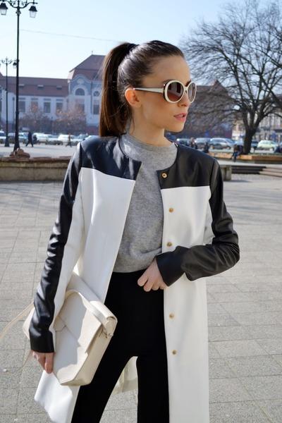 black Zara boots - white Zara coat - ivory Zara bag - black Zara pants