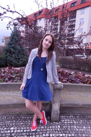 silver Terranova jacket - blue H&M dress - ruby red Deichmann sneakers