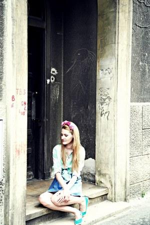 vintage dress - H&M shirt - handmade hair accessory - Cache Cache flats