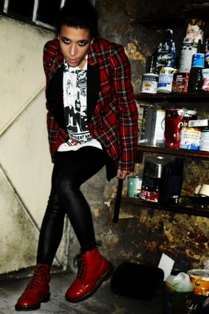 Maje jacket - Zara shirt - American Apparel panties - Dr Martens shoes