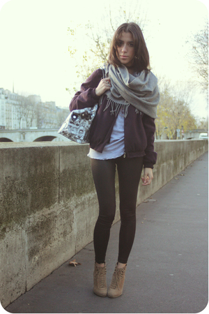 gray  scarf - beige Zara shoes - purple Maje jacket