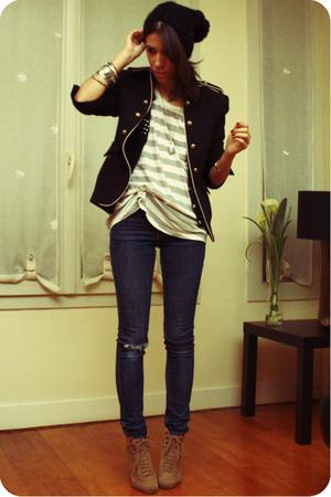 white The Kooples shirt - brown Zara shoes - blue Cheap Monday jeans