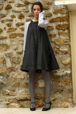 black texto shoes - gray jumpsuit French Connection dress