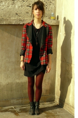 Maje blazer - Uniqlo dress - Topshop boots