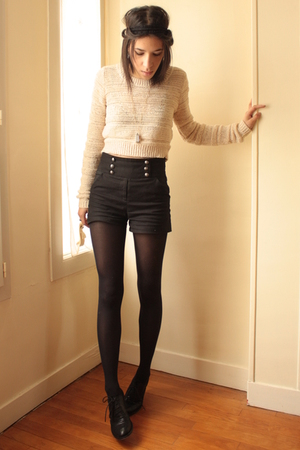 silver les jumelles necklace - black Topshop shoes - beige H&amp;M sweater