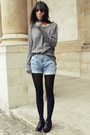 Gray-the-kooples-sweater-blue-levis-shorts-blue-guerissol-coat-blue-cos-so