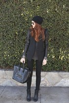 black coat - black purse