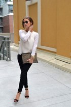 black pants - white shirt - black heels