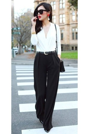 white shirt - black pants