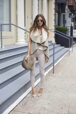 beige coat - periwinkle pants