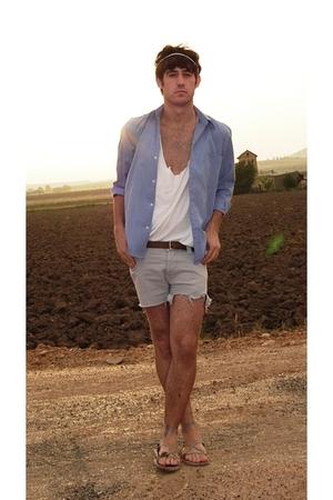 Massimo Dutti shirt - H&M cut by myself t-shirt - Bershka cut by myself shorts -