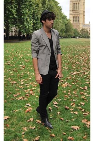 vintage blazer - Topman t-shirt - Office boots - Topman jeans - next belt