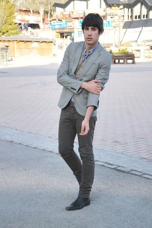 Topman blazer - H&M jeans - All Saints vest - Springfield shirt - Office boots