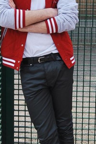 red jacket - black pants