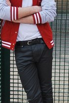 red jacket - black pants