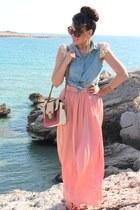 salmon Zara skirt - hot pink Ebay bag - sky blue H&M earrings