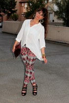 new look leggings - asos bag - H&M blouse - new look wedges