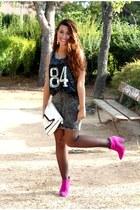 hot pink Zara boots - ivory Primark bag - gray H&M skirt - black Forever 21 top