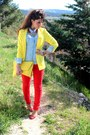 Yellow-new-yorker-blazer-yellow-asos-bag-red-h-m-pants-red-zara-heels