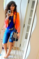 burnt orange boots - periwinkle Zara jeans - carrot orange vintage blazer