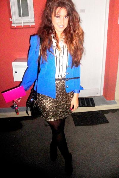 H&M skirt - vintage blazer - H&M blouse - heels