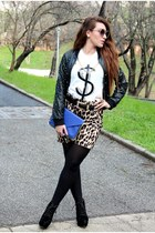 black Boohoo boots - black Forever21 jacket - black River Island belt