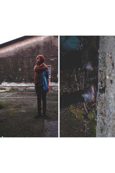beige handmade scarf - sky blue pull&bear shirt - periwinkle Zara t-shirt - blac