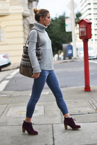 heather gray turtleneck Gap sweater - crimson Michael Kors boots