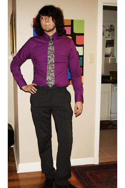 Fashion Baton Rouge on Men S Purple Express Men Shirts  Gray Gap Pants  Vintage Ties
