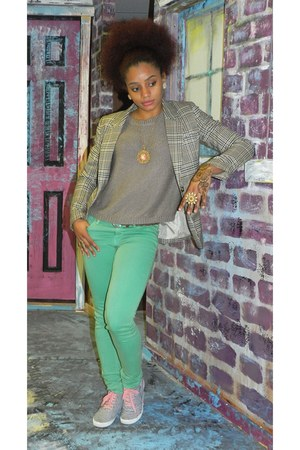 striped H&M shoes - tan plaid H&M blazer - aquamarine skinny H&M pants
