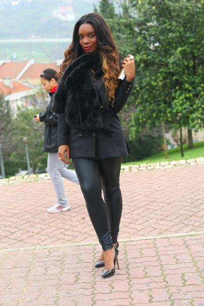 black Stradivarius leggings - black BLANCO blazer - black Zara heels
