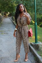 nude Zara shoes - red Chanel bag - dark brown Zara romper