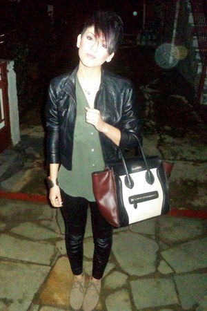 black Bershka jacket - olive green H M shirt - crimson Celine bag