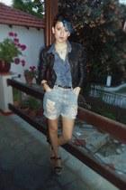 black Bershka jacket - violet Stradivarius shirt - sky blue Bershka shorts