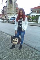 dark brown Celine bag - blue H M jeans - ivory H M jacket - black Celine t-shirt
